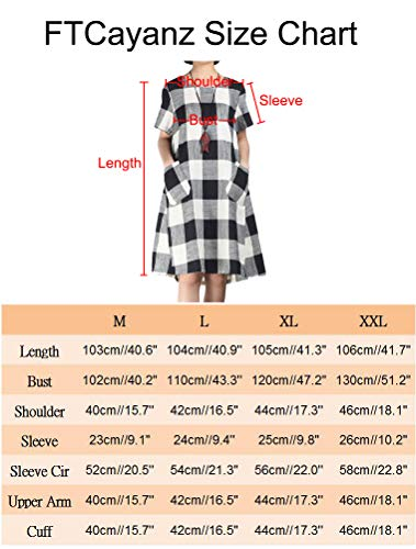 Women's Linen Shirt Dresses Summer Casual Short Sleeve Plaid Tunic Midi Dress 6