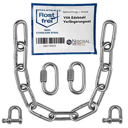 2 pièces 150-cm = 1,5 mètre 5-mm ensemble d'extension de chaîne en acier inoxydable de 5 mm d'épaisseur charge de rupture max. 900 kg avec manilles droites mousqueton connecteur en V4A Kit de montage