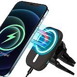 【2021最新版】車載ワイヤレス充電器 車載ホルダー 対応 iPhone12/12 Pro/12 Pro Max/12 mini 磁気式 スタンド 15W 急速充電可能 車載Qi 充電ホルダー スマホホルダーエアコン吹き出し口用 クリップ式 ケースに適用 (Black)