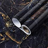 """Mecpar Dark Black Blue Marble Wallpaper 15.7"""" x 118' Marble Contact Paper Marble Peel and Stick Wallpaper Removable Waterproof Self Adhesive Vinyl for Kitchen Countertop Cabinet Table Furniture"""