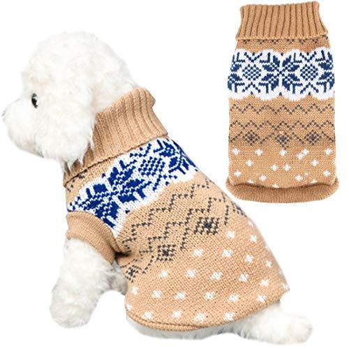 YUESEN Hundepullover Haustier Katze Hund Pullover, Winter Warmer Hund Katzenpullover Kleidung Haustiermantel Kostüm Welpenpullover Pullover Bekleidung, L