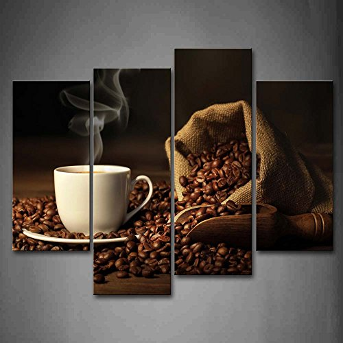 First Wall Art - Brown A Cup of Coffee and Coffee Bean. Wall Art Painting The Picture Print On Canvas Food Pictures for Home Decor Decoration Gift