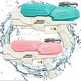 Pistolas de Agua Chorro de Agua Squirt Gun, 550ML Soaker Guns para Niños Años Adultos, Juguetes de Verano Caliente para Piscina de Playa, para con Alcance Largo Rango de 8-10 Metros (Azul + Rosa)