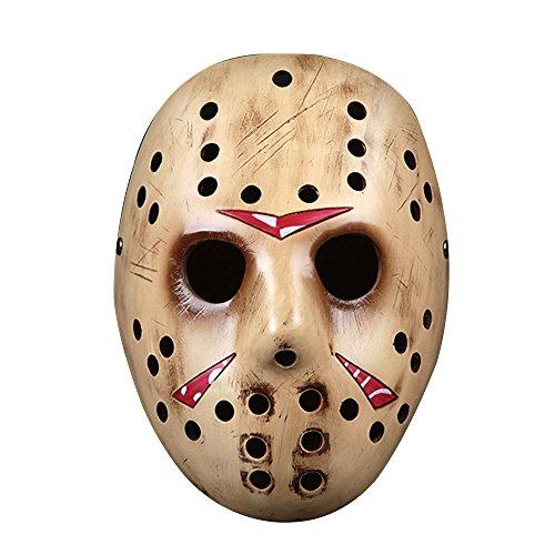 Alxcio Halloween Maske Sammleredition Film Theme Harz Maske für Maskerade Kostüm Partei Cosplay Geschenk (Jason, Gold)