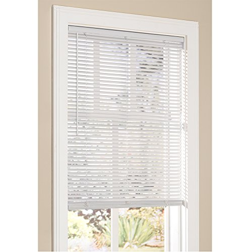 "Lumino Vinyl Mini Blinds 1 Inch Cordless Room Darkening in White - 23"" W x 64"" H (Over 250 Add'l Custom Cut Sizes) - Starting at $9.97"