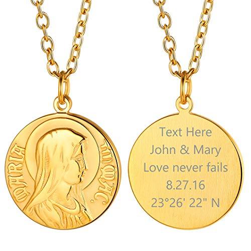 Richsteel Virgen Milagrosa Medalla color Oro Santa Maria Collar de Protección para Mujeres Hombres