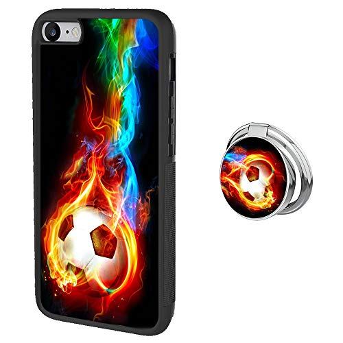 Mr dud 7/8 Case with Ring Holder Stand Black Marble UPC& PC Non-Slip Waterproof Durable Case for 7 8 with Metal Ring Holder Buckle (Flame Soccer) …