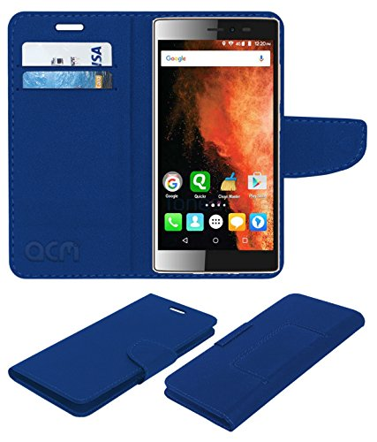 ACM Faux Leather Flip Cover for Micromax Canvas 6 E485 -Blue