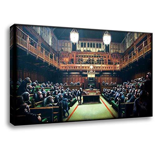 Kunstbruder - Bilder Banksy Affenparlament Leinwandbilder Kunstdruck (div. Formaten) 2cm - Monkey Parliaments Kunstbild Druck auf Leinwand (60 x 100 cm)