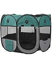 CHICIRIS Jaula de casa para Mascotas Corralito para Exteriores, Accesorios para Mascotas, Material de Tela de Material metálico(S, XBD82 Green Gray no Kettle Toy)