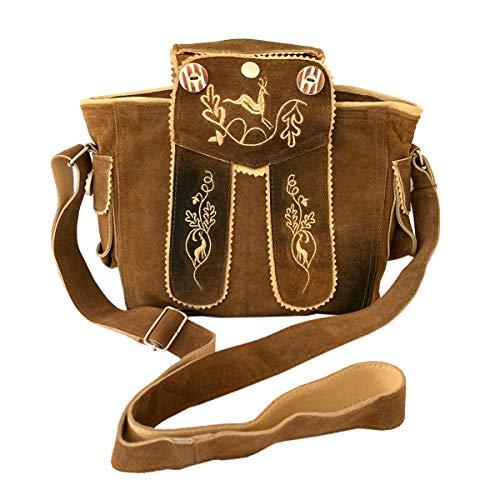 Trachtentasche Dirndltasche Lederhosen-Tasche Umhängetasche Leder braun im Vintage-Look