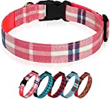Taglory Plaid Dog Collar, Soft Cotton Nylon Pet Collars with Buckle, Adjustable for Small Dogs, S, Pink