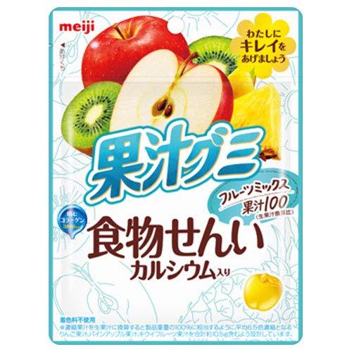 明治 果汁グミ 食物せんいフルーツミックス 68g×8袋入×(2ケース)