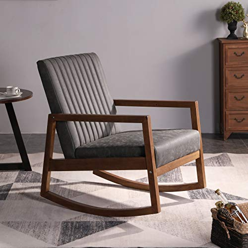 Wahson PU Leather Rocking Chair Mid-Century Armchair with Solid Wood Legs, Leisure Relax Chair for Living Room/Bedroom/Balcony (Dark Grey)