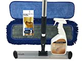 """Mannington Ultra Clean Floor Mop Cleaning Kit - Complete Hardwood & Laminate Flooring Cleaning System - 18' Pristeen Flat Mop with 72"""" Telescopic Mop Handle - 32oz Ultra Clean Spray Bottle"""