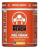 Muscle Beach Nutrition Pre-Train Powder - Pre Workouts Nitrate Supplement | Boosts Energy, Enhance Muscle Endurance - PreWorkout Supplements for Men & Women - Mango Maniac 25 Servings