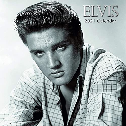 2021 Wall Calendar - Elvis Presley Calendar, 12 x 12 Inch Monthly View, 16-Month, Famous 50s 60s Singer Icon, Includes 180 Reminder Stickers