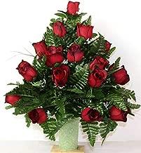 XL Red Roses Artificial Silk Flower Cemetery Bouquet Vase Arrangement
