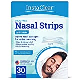 Instaclear Nasal Breathing Strips, Clear Medium 30 ct | Works Instantly, Nasal Congestion Relief, Stops Snoring, Cold & Allergy