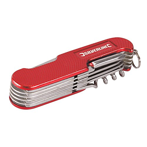 Silverline 270627 Couteau de poche 14 fonctions 75 mm, Rouge