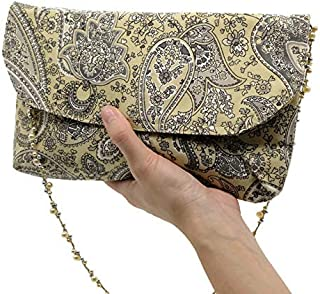 6a8013d0492 Convertible Handmade Fabric Clutch Shoulder Bag Purse Handknotted Pearl  Straps Paisley