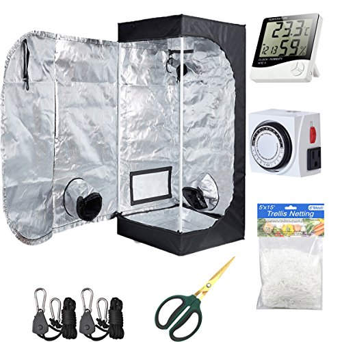 "Hydro Plus Grow Tent Room Kit 24""x24""x48"" Indoor Plants Growing Reflective Mylar Dark Room Non Toxic Hut + Hydroponics Growing System Accessories (24""x24""x48"" Kit)"