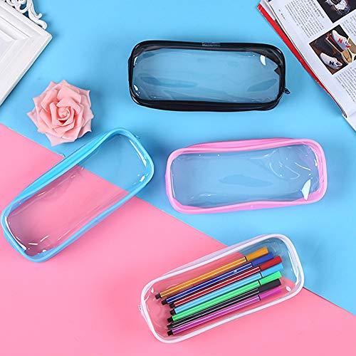 Bolsa de lápices transparente SUNSHINETEK 4 piezas Bolígrafo de examen transparente Estuche de lápices Bolsa de maquillaje con cremallera de PVC de gran capacidad para Almacenamiento de cosméticos