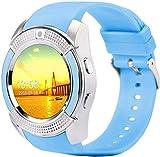 Reloj inteligente Bluetooth Smart Watch con pantalla táctil reloj de pulsera con cámara y ranura para tarjeta SIM resistente al agua, reloj inteligente Sier uso diario/blanco/azul
