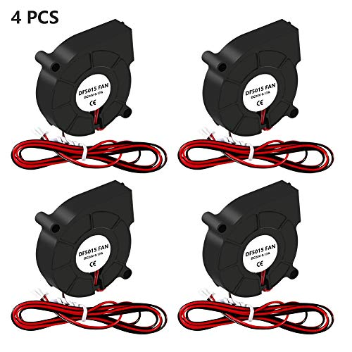Aokin 4 Pcs 5015 DC Brushless Cooling Blower Fan, 50x50x15mm Cooling Fan with 2 Pin Terminal for 3D Printer Hotend Extruder Heatsinks, 24V 0.17A