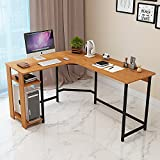 Jerry & Maggie - L Shaped Office Desk Computer Desk Corner Desk Table Personal Working Space Lapdesk Set with Wood Surface Board & Steel Frame Support for Livingroom Bedroom Office - Natural Wood Tone