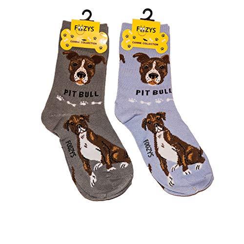 Foozys Unisex Crew Socks | Canine/Dog Collection | Pit Bull