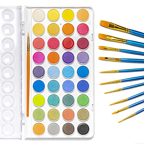 Jofefe 36 Colors Watercolor Paint set, Water Colors Paint Box With Palette, and a Package of 10 Paint Brushes of Different Sizes, The Best Gift for Kids, Beginners, Children and Art Lovers.