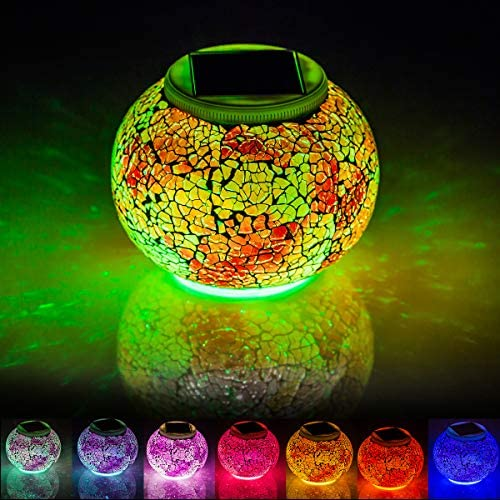 Mosaic Solar Lights Outdoor Color Changing Waterproof Table Lamps Crystal Glass Globe Ball Lights product image