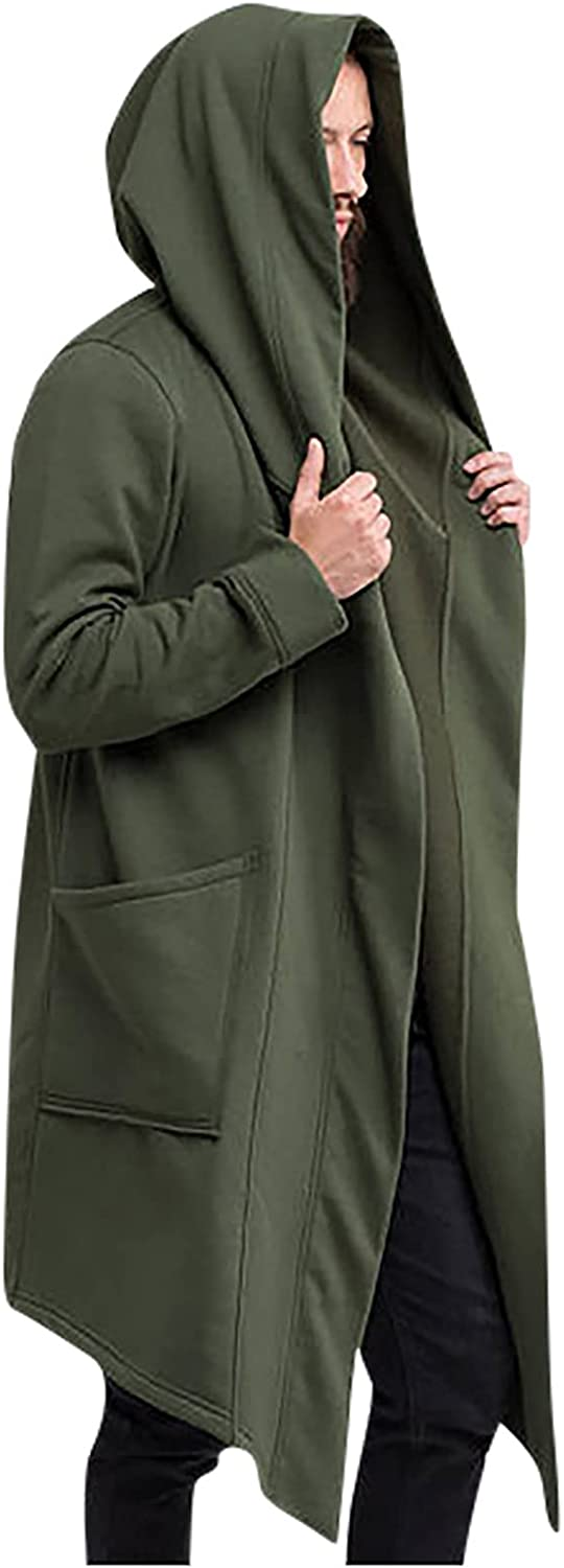 Men's Casual Long Hooded Cardigan Plus Size Front Open Shawl Collar Draped Sleeve Cape Cloak Coat Outwear with Pockets