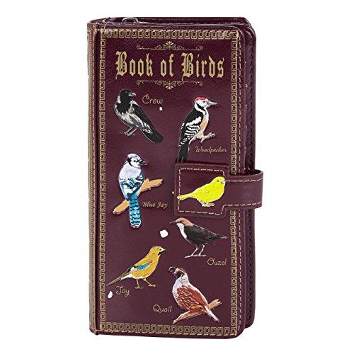 Shagwear ® Portemonnaie Geldbeutel Damen Geldbörse Mädchen | Bifold Mehrfarbig Portmonee Designs: (Buch der Vögel/Book of Birds Purple)