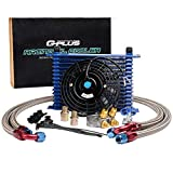 7 inch auto cooling fan - 15-Row 10 An Powder-Coated Aluminum Engine Thermostat Adaptor Oil Cooler + 7