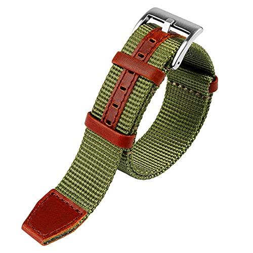 LINMAN Nylon 20mm 22mm Reloj de Reloj cinturón de Seguridad Khaki Sport Canvas Banda de muñeca Pulsera Compatible con Hamilton Watch Strap (Band Color : Green Silver Buckle, tamaño : 20mm)