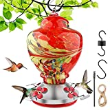 Hummingbird Feeder for Outdoors - 30 Fluid Ounces - Hand Blown Glass - Red - Leak Proof with 4 Feeding Ports Hummingbird Include Hanging Wires and Moat Hook
