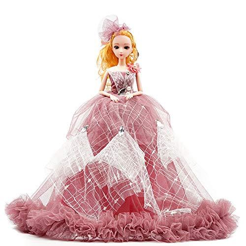 YUYUGO Mädchenkleid, Brautkleid, Puppenkleid, Hochzeitskleid, Goll Kinder, Weihnachten, Party, Spielzeug dunkelrot