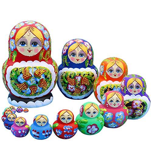 Matroschka, Puppen Babuschka Holzpuppenfiguren Katja, Set 15 Matroschkas Kinder