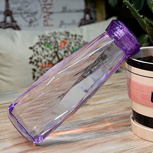 ALYHYB Prueba de vacío térmico Transparente Botellas de plástico de Agua Irregular Copa de Fugas con Tapa for Exterior, Home Office y, a 620ml (Color: Amarillo) huangcui (Color : Purple)