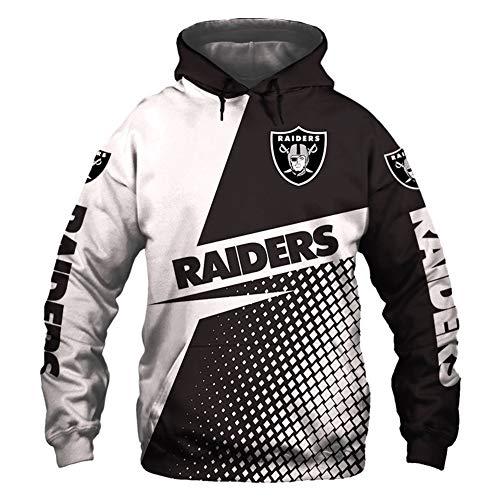 ATI-HSKJ Hoodies Oakland Raiders American Football Pullover American Football Union Jersey-Tops Rugby-Team-Logo Trainings Langarm-Kapuzenshirt,3XL