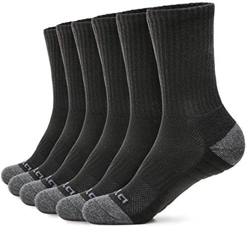 TSLA Men and Women Athletic Crew Socks, Cotton Blend Cushion Mid Calf Socks, Sport Performance Running Socks, Simple Comfort 6pairs(mzs51) - Black, Large