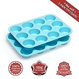 MEKBOK Silicone Mini and Large Egg, Muffin and Cupcake Pan 12 24 Tin Cup - BPA Free Non Stick Muffin...