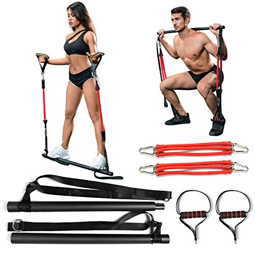SYNTECSO Pilates Bar with 180lbs Resistance Band, Portable Home Gym Equipment for Full Body Workout - Height and Resistance Adjustable Resistance Bar for Men and Women of Height 4.92-5.7ft Iowa