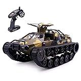 Tanque RC, 1/12 tanque de juguete de control remoto de velocidad rápida 2.4G tanque militar todo terreno con efecto de luz, juguete de control remoto para niños adultos (Tarnung)
