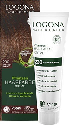 LOGONA Naturkosmetik Pflanzen-Haarfarbe Creme 230 Maronenbraun, Braune Natur-Haarfarbe mit Henna, Farbcreme Teak, Dauerhafte Coloration Rotbraun, 150ml