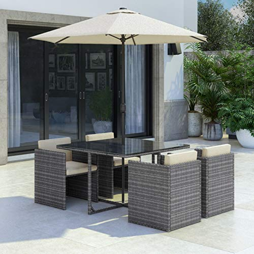 Fortrose Grey Rattan Cube Garden Dining Set - 4 Seater - Parasol Included