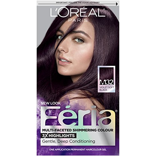 L'Oreal Paris Feria Multi-Faceted Shimmering Permanent Hair Color, M32 Midnight Star (Violet Soft Black), Pack of 1, Hair Dye