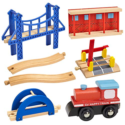Dragon Drew Wooden Train Accessory Set – Includes Train Car, Station Platform, Raised Bridge and Tracks and Railroad Crossroad - Compatible with Brio, Thomas, Chuggington and All Major Brands